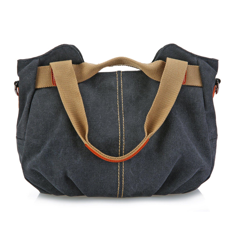 SCIEN Women's Casual Vintage Hobo Canvas Tote Bag Mulit-Pocket Daily Purse Shoulder Top Handle Handbags, Grey