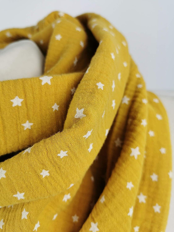 Loop Musselin Sterne senfgelb handmade