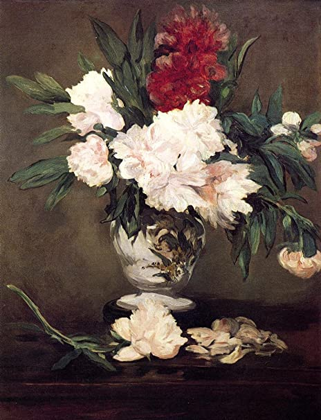 Amazon Com Peonies In A Vase On A Stand By Edouard Manet 16 X 20 Premium Canvas Print Posters Prints