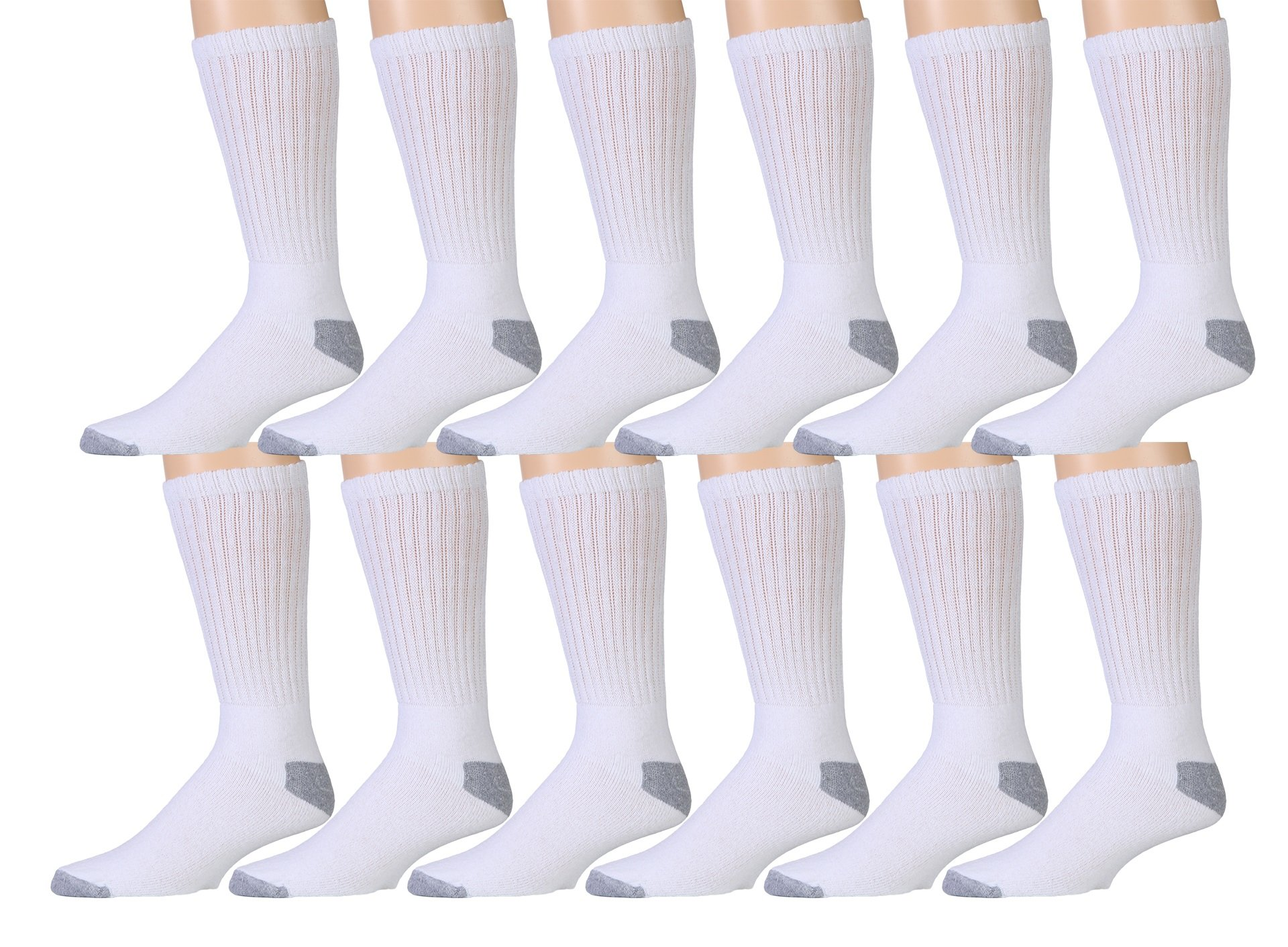 12 Pair Pack Of Mens Cotton Sport Crew Socks, Value Pack By WSD Brands