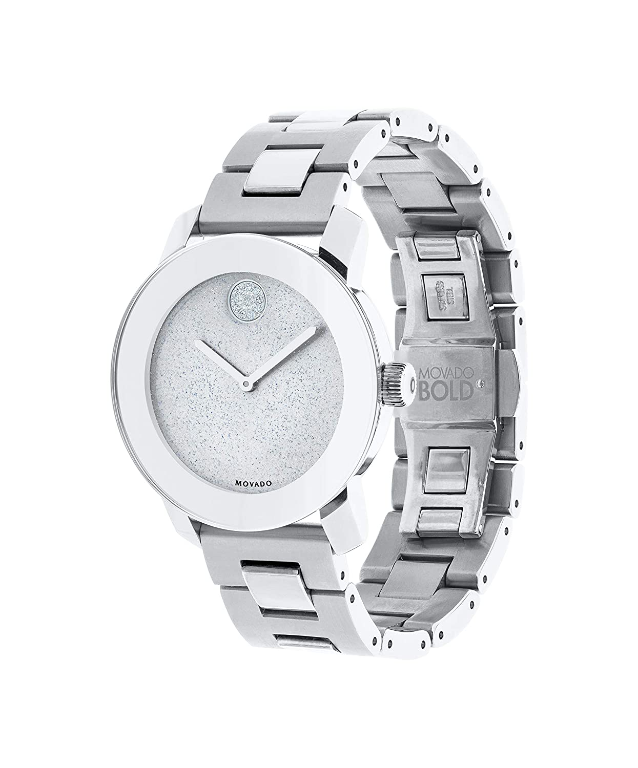 Movado Women s BOLD Iconic Metal Stainless Steel Watch with Flat Dot Glitter Dial, Silver 3600334