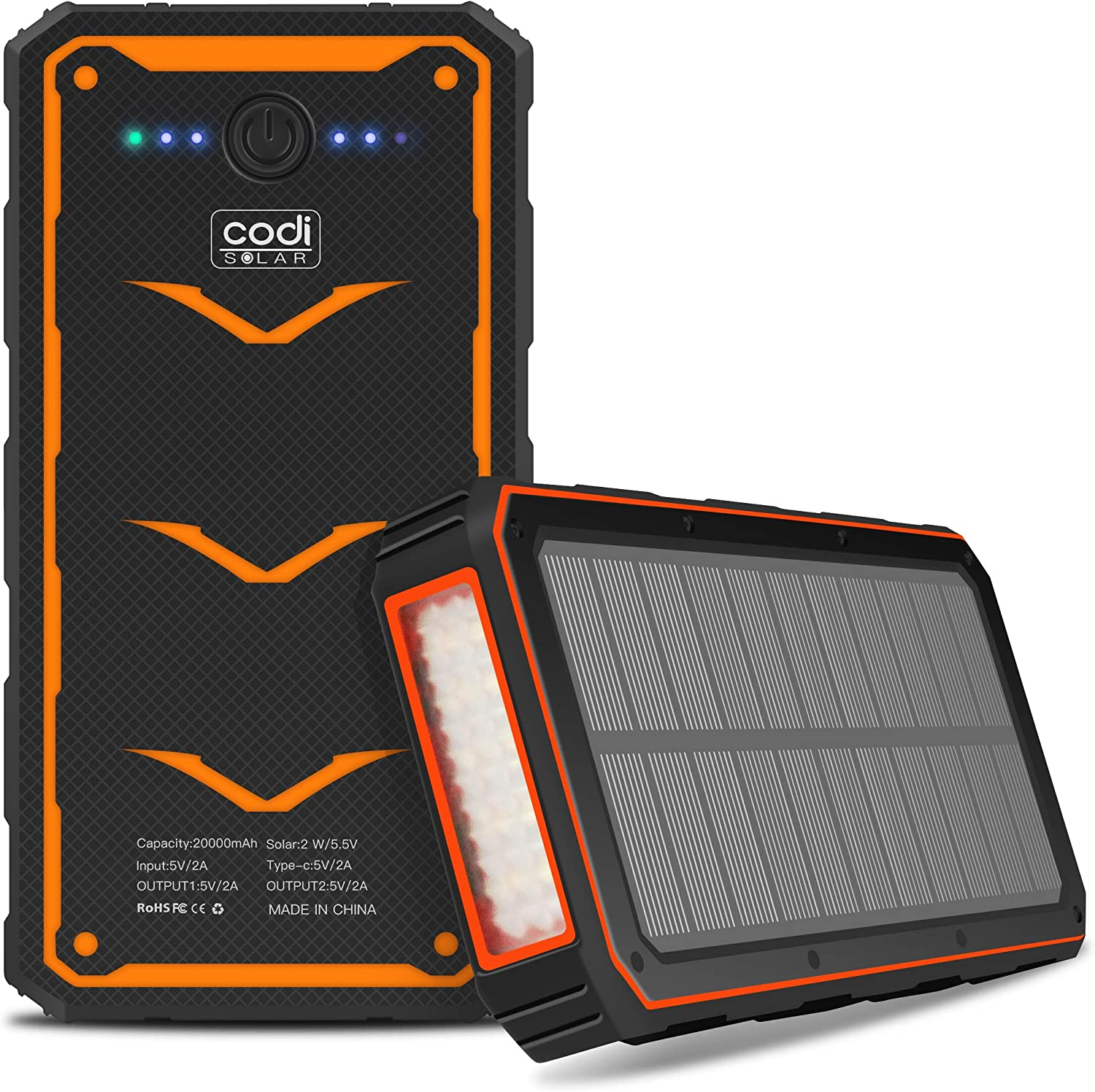Codi Solar Portable 20000mAh Outdoor Solar Charger Power Bank with Dual USB Output and Led Light Flashlight for iPhone 12, 12 Pro, 12 Pro Max, Samsung Galaxy S21 Ultra 5G, S21+ 5G, S21 5G
