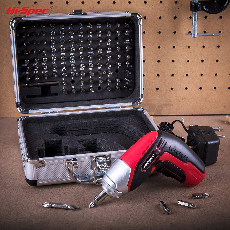 Incluso set di 102 pezzi con inserti a esagono Avvitatore elettrico Hi-Spec senza fili ricaricabile a batteria agli ioni di litio da 3,6 V 1300 mAh con 4 LED a intaglio. a croce a stella piatti