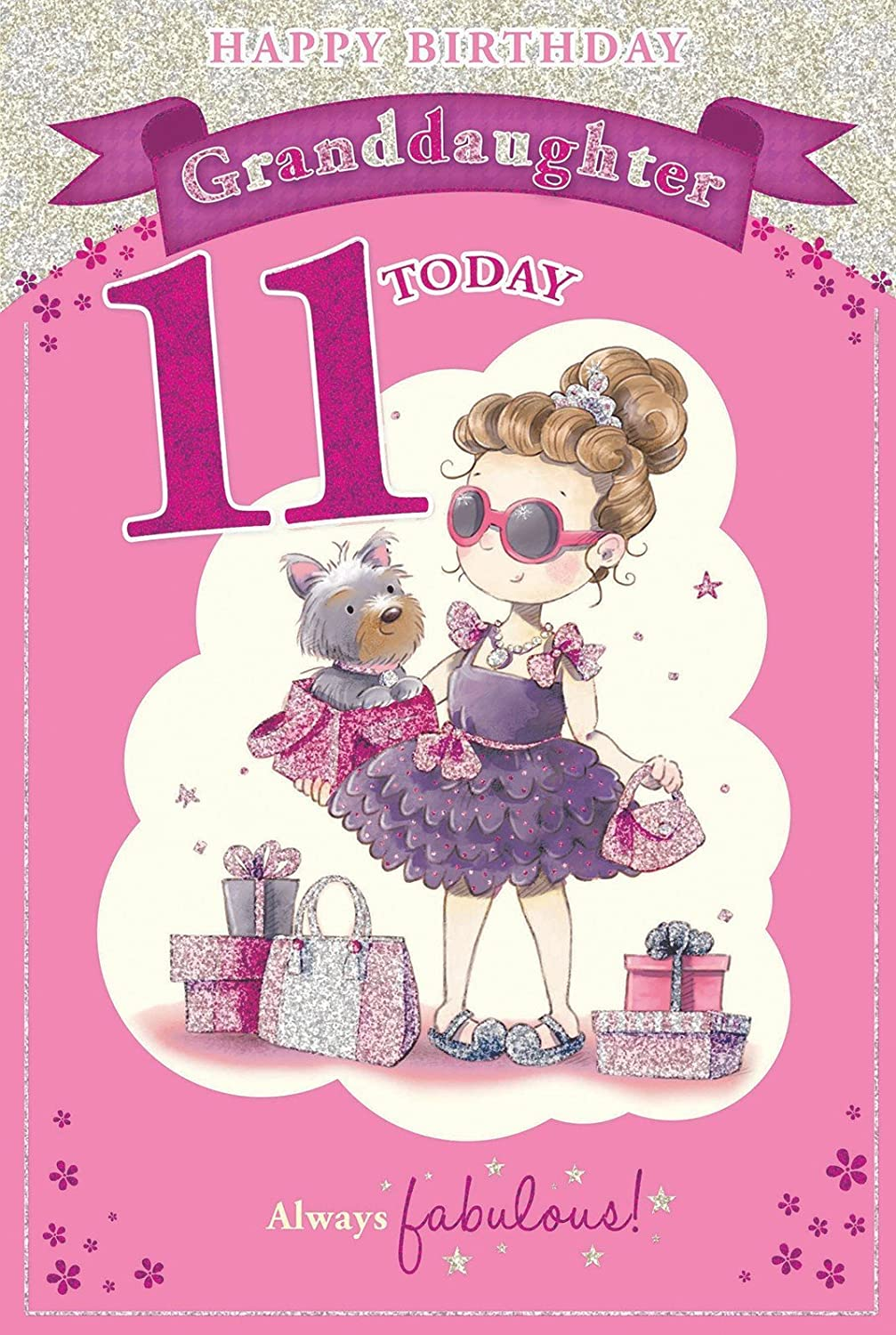 Granddaughters 11th Birthday Card 11 Today Girl Dog With – 11th Birthday Cards