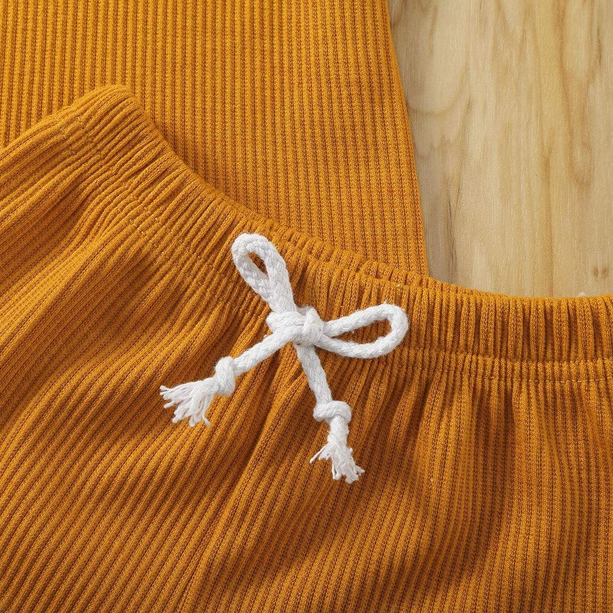 pantaloni corti con cravatta in vita girocollo LIjieganxin Completo estivo per bambina a maniche corte 2 pezzi corti per bambine maglietta