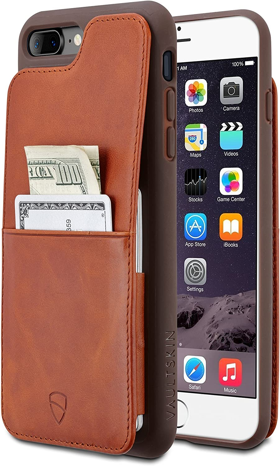 iPhone 7/8 Plus Wallet Case, Vaultskin Eton Armour for iPhone 7/8 Plus (5.5) Slim Minimalist Bumper Case for Cards and Cash, Genuine Leather - Holds up to 10 Cards (iPhone 7/8 Plus, Cognac)