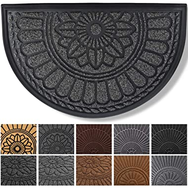 Mibao Half Round Door Mat, Non-Slip Welcome Entrance Way Rug, Super Durable Low-Profile Easy to Clean Front Outdoor Heavy Duty Doormat for High Traffic Area, 24  x 36 , (Gray)