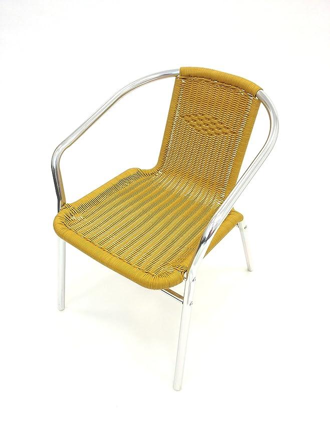 Yellow Rattan Garden Chair, Aluminium Bistro Chairs: Amazon.co.uk: Garden U0026  Outdoors