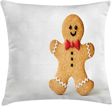 Amazon Com Ambesonne Cookie Throw Pillow Cushion Cover Happy Gingerbread Man In A Bow Tie Decorative Square Accent Pillow Case 36 X 36 Sand Brown Vermillion And Dark Chestnut Brown Home Kitchen