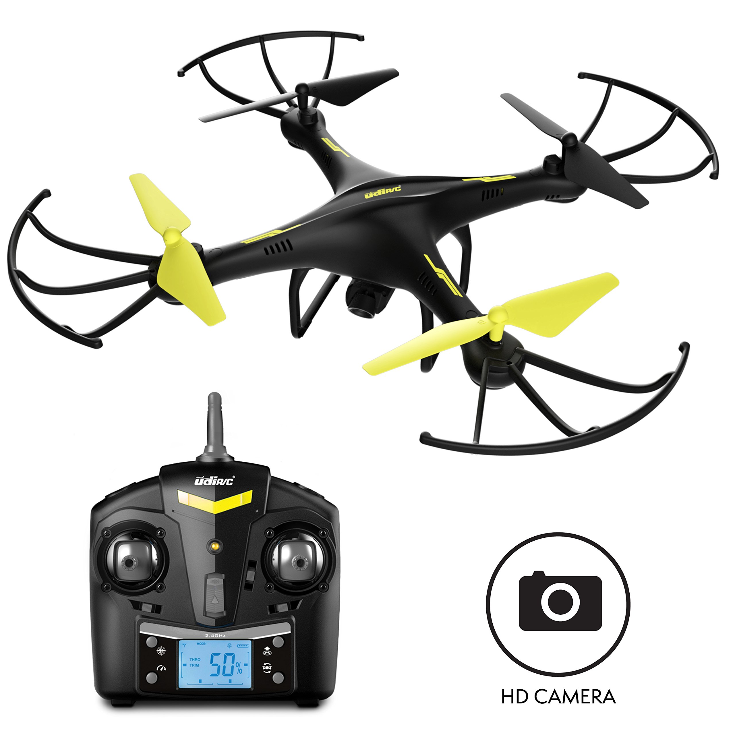 "Force1 Drones Camera - ""U45 Raven"" 720p HD Camera Drone 4GB SD Card Card Reader RC Drone Camera Kit Drone Quadcopter LED Toys Lights"