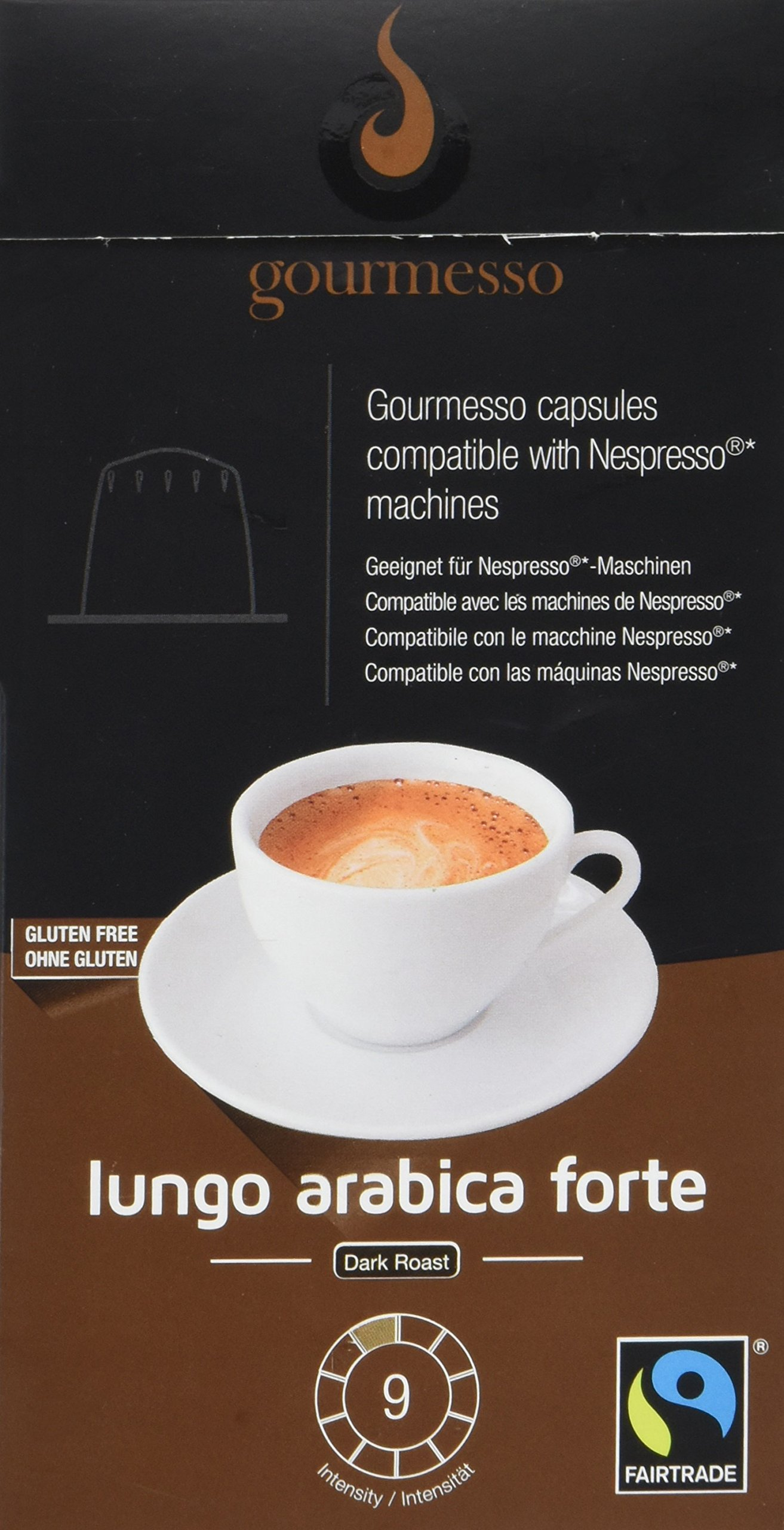 Gourmesso Lungo Arabica Forte - 10 Nespresso Compatible Coffee Capsules - Fair Trade