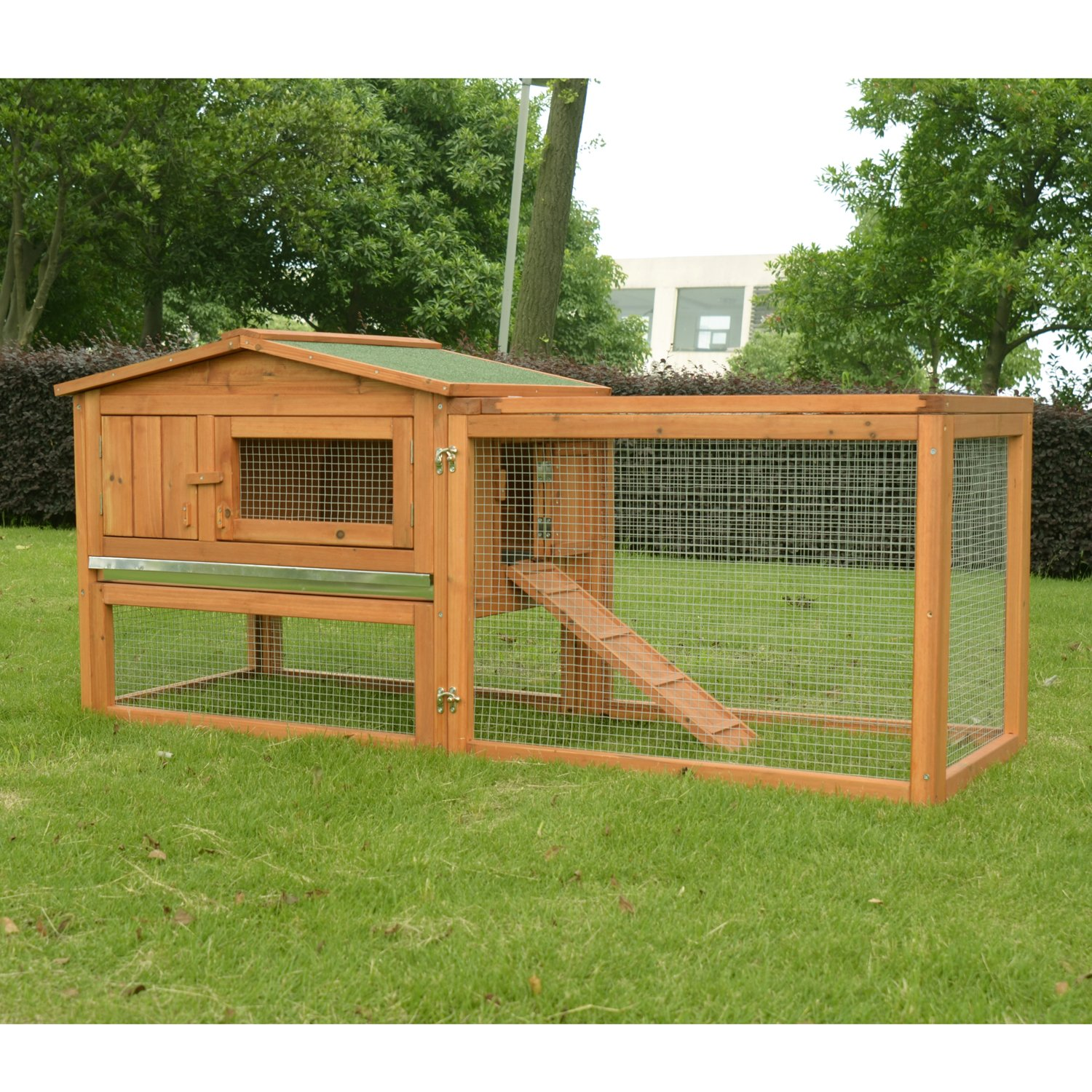 hutches backyard rabbit animal story outdoor hutch house supplies wooden new with tray pet small pawhut run