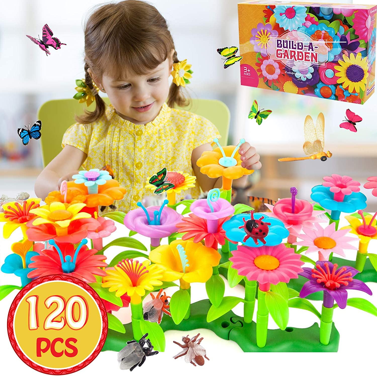 Flower Garden Building Toys for Girls - STEM Toy Gardening Pretend Gift for Kids - Stacking Game for 3,4,5,7 Year Old Toddlers - Building Blocks Educational Creative Playset for Preschool(109+11PCS)