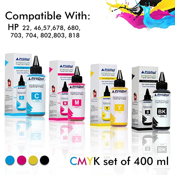 ProDot RI-CART-H05-DCYMK (HOT) Premium Refilling Ink for HP Inkjet Printers (Pack of 4) Ink Cartridges at amazon
