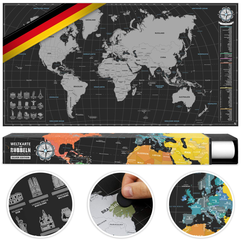 #benehacks mappa del mondo gratta in lingua TEDESCO - mappa a graffio - argento/nero 84 x 44 cm incl. confezione regalo