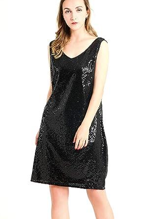 018176b46c3 MS STYLE Women s Sexy Deep V Neck Sequin Glitter Bodycon Dress Sleeveless  Stretchy Mini Party Dress