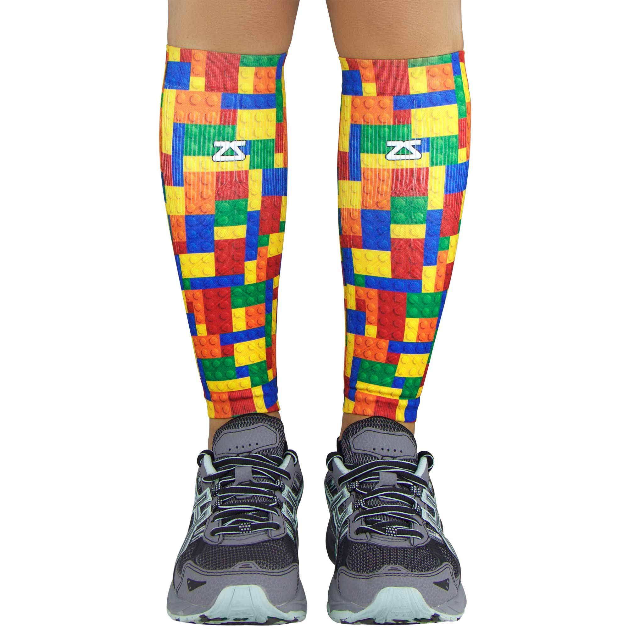Zensah Compression Leg Sleeves - Helps Shin Splints, Leg Sleeves for Running (X-Small/Small, Puzzle Blocks-Blue/Yellow/Red)