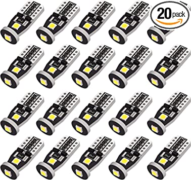 W5W 194 168 175 Super Bright White-6000K 3014 SMD 18 LED Chipsets T10 Bulbs for Cargo Light Parking Light Dome Light Pack of 5