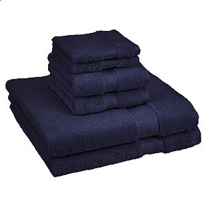 AmazonBasics Egyptian Cotton Towel Set - 6-Piece Set, Deep Navy