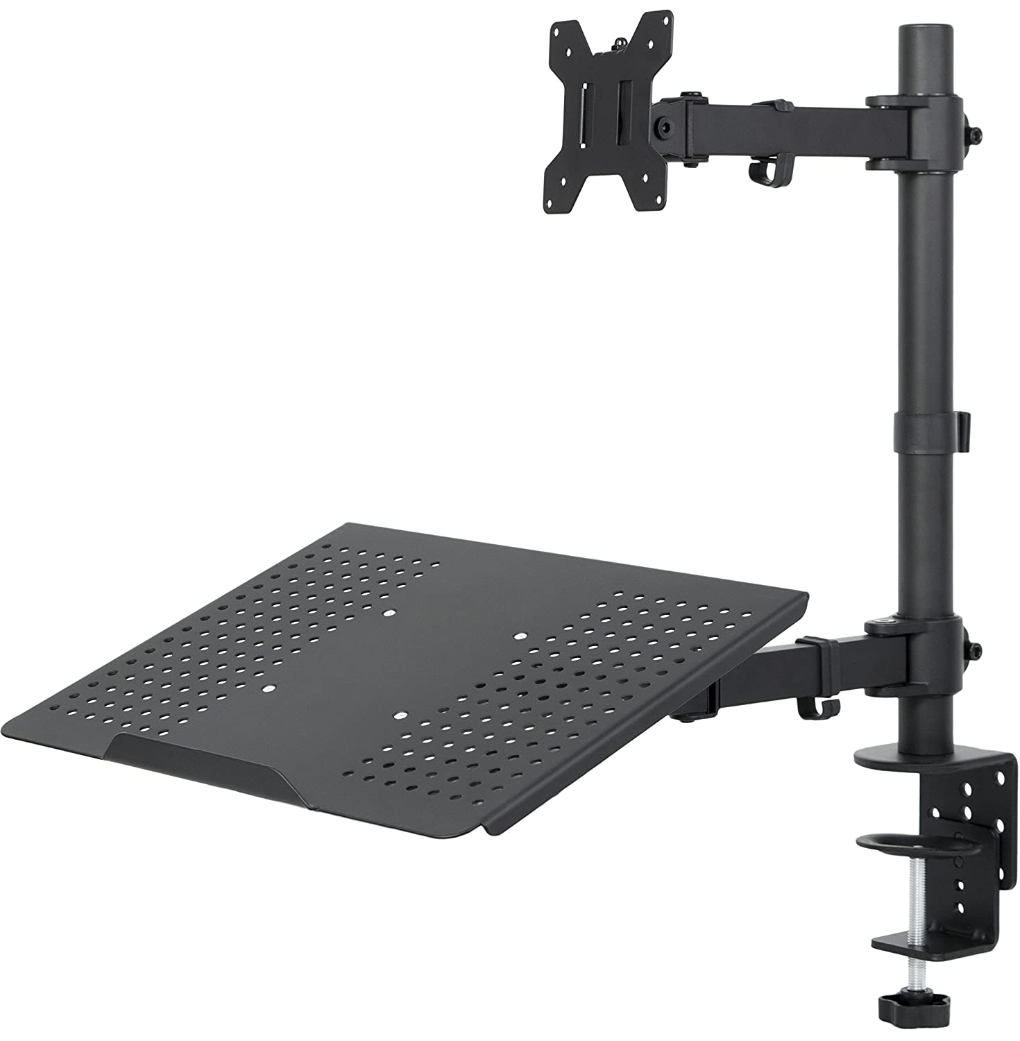Amazon com vivo triple lcd monitor desk mount stand heavy duty fully - Dual Mount For 1 Laptop 1 Lcd Monitor Desktop Mount Stand Black