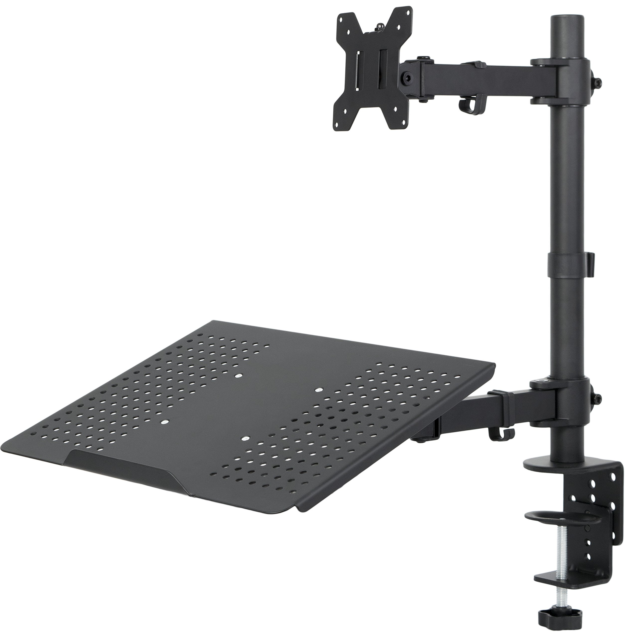 VIVO Fully Adjustable Single Computer Monitor and Laptop Desk Mount Combo Black Stand with Grommet Option | Fits 13'' to 24'' Screens and up to 17'' Laptops (STAND-V002C)