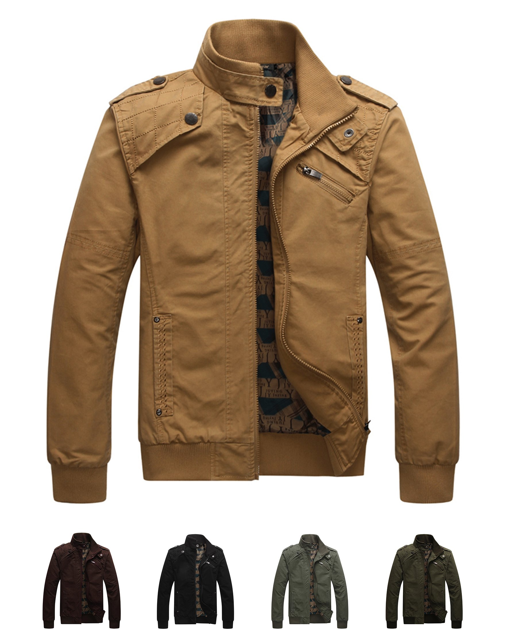 Earth Window Men's Casual Long Sleeve Full Zip Jacket with Shoulder Straps (Large,Khaki)