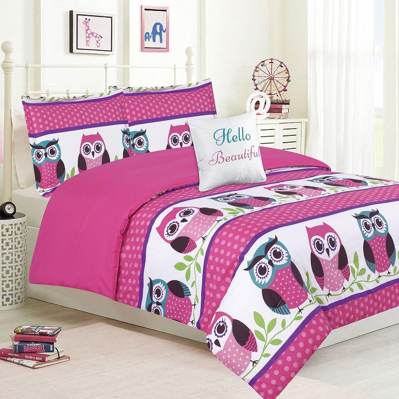 HowPlum Girls Bedding Twin 4 Piece Comforter Bed Set, Owl Pink Teal Purple