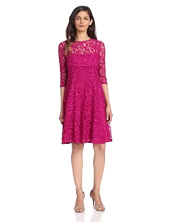 Adrianna Papell Women S 3 4 Sleeve Fit And Flare Lace
