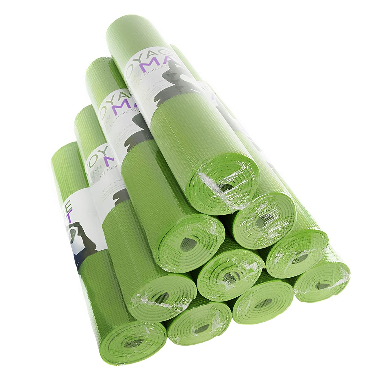 5mm Thick Extra Thick Lead and Latex Free 72 x 24 Inches Economy 10 Pack Hello Fit Voyage Yoga Mats