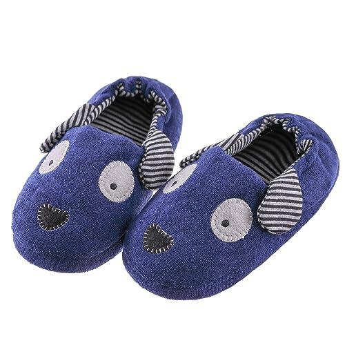 270daf0b46b43 FANZERO Toddler Boys Girls Doggy Slippers Soft Plush Warm Cartoon Puppy  Non-Slip Winter House Shoes