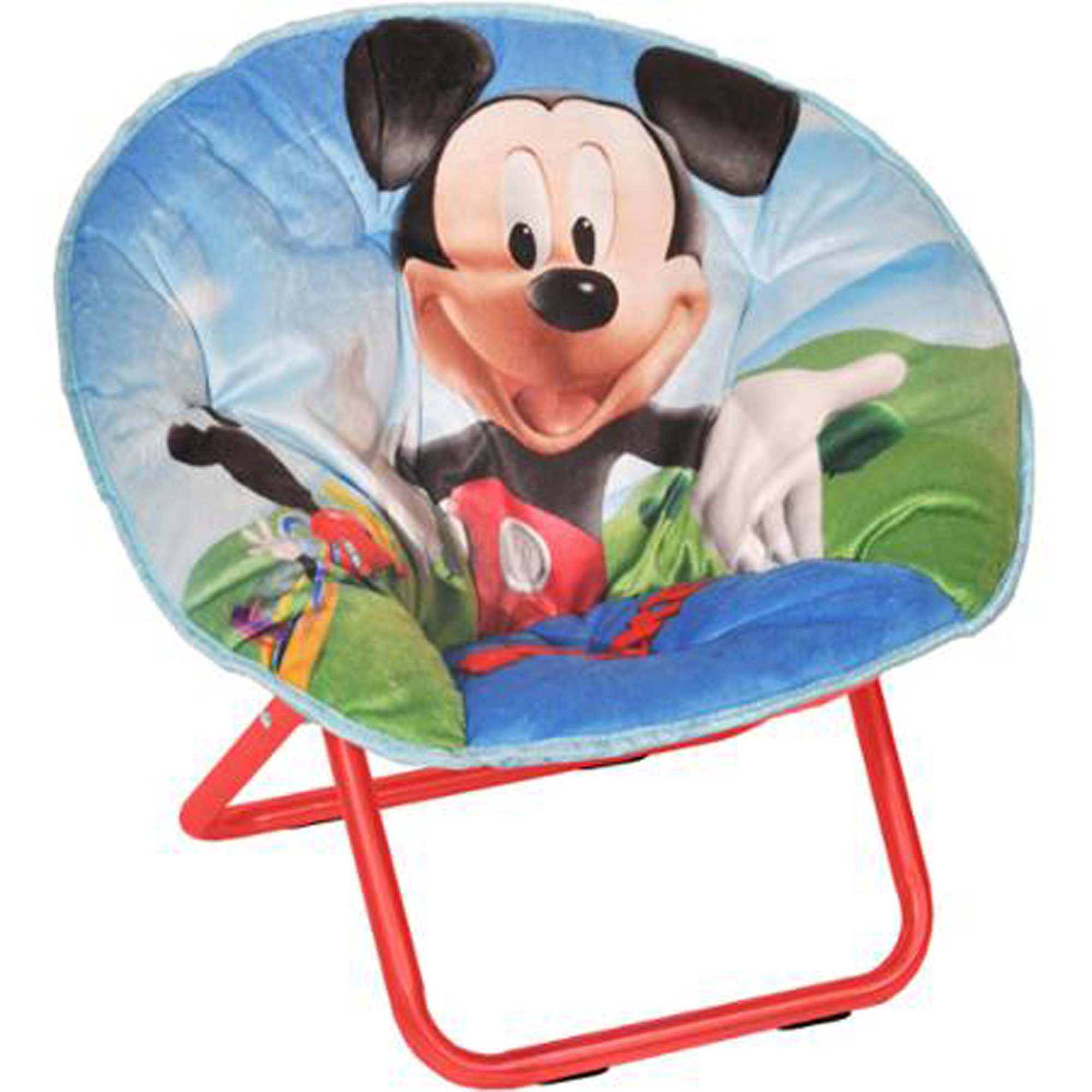 Mickey Mouse Mini Saucer Chair Multicolor Toddler Kids Seat Portable Character Comfortable Seating Saucer Shape Sturdy Metal Frame Polyester Cushioned Seat Playroom Easy Storage Bedroom by Disney