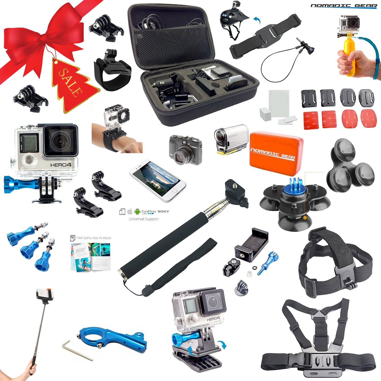 Nomadic Gear Universal Advanced Accessory kit with Epic Photo Shooting 101 ebook for GoPro, Sony Action Camera, Garmin, Ricoh Action Cam, SJCAM and Smartphones (41 Items) by Nomadic Gear