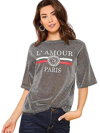 6fa16c8772 SheIn Women's Glitter Graphic Print Crewneck Short Sleeve Tee Blouse Tops  at Amazon Women's Clothing store: