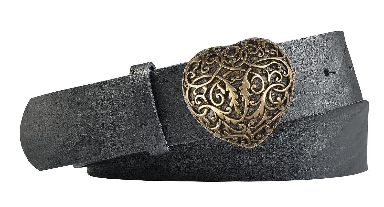 Vollrindleder Trachtengürtel mit Herz Gürtelschnalle - Gürtelbreite 40mm- Farbe: schwarz