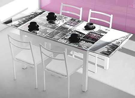 Tavolo Cucina Allungabile Vetro.Tavolo Da Cucina Allungabile In Vetro Con Stampa Su New York