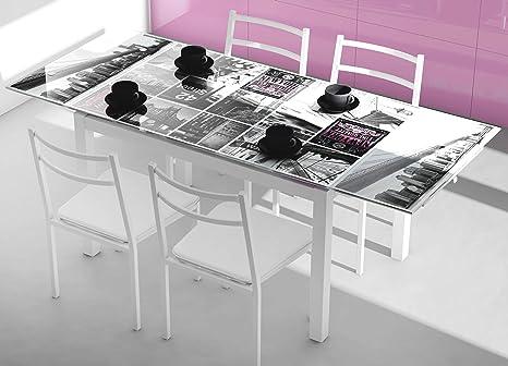 Abitti Mesa de Cocina Extensible de Cristal con serigrafía Nueva York 110-170x70cm