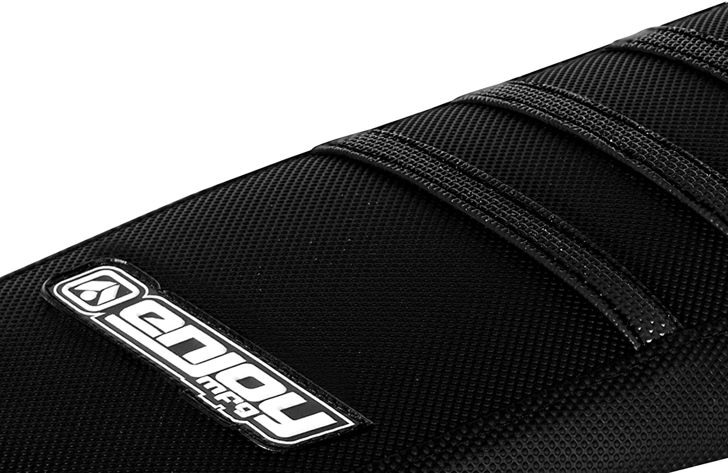 White Ribs Enjoy MFG Ribbed Seat Cover for 2000-2007 Yamaha TTR 125 All Black