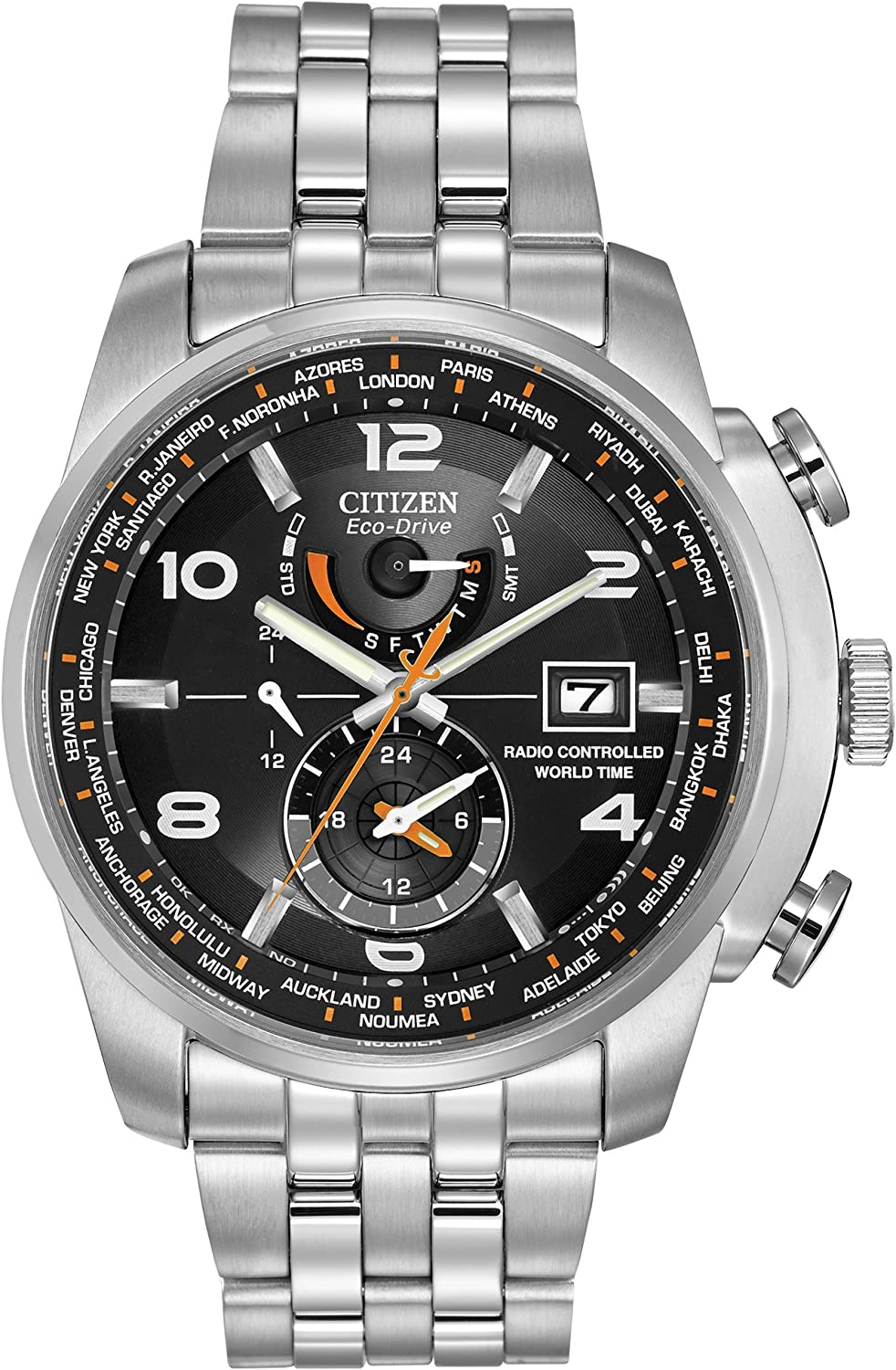 Citizen Men s Eco-Drive Silvertone and Black World Time A-T Watch