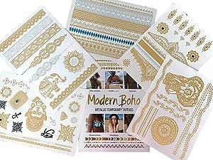 Modern Boho 5 Sheets Metallic Tattoos, Gold/Silver Flash, Namaste Collection