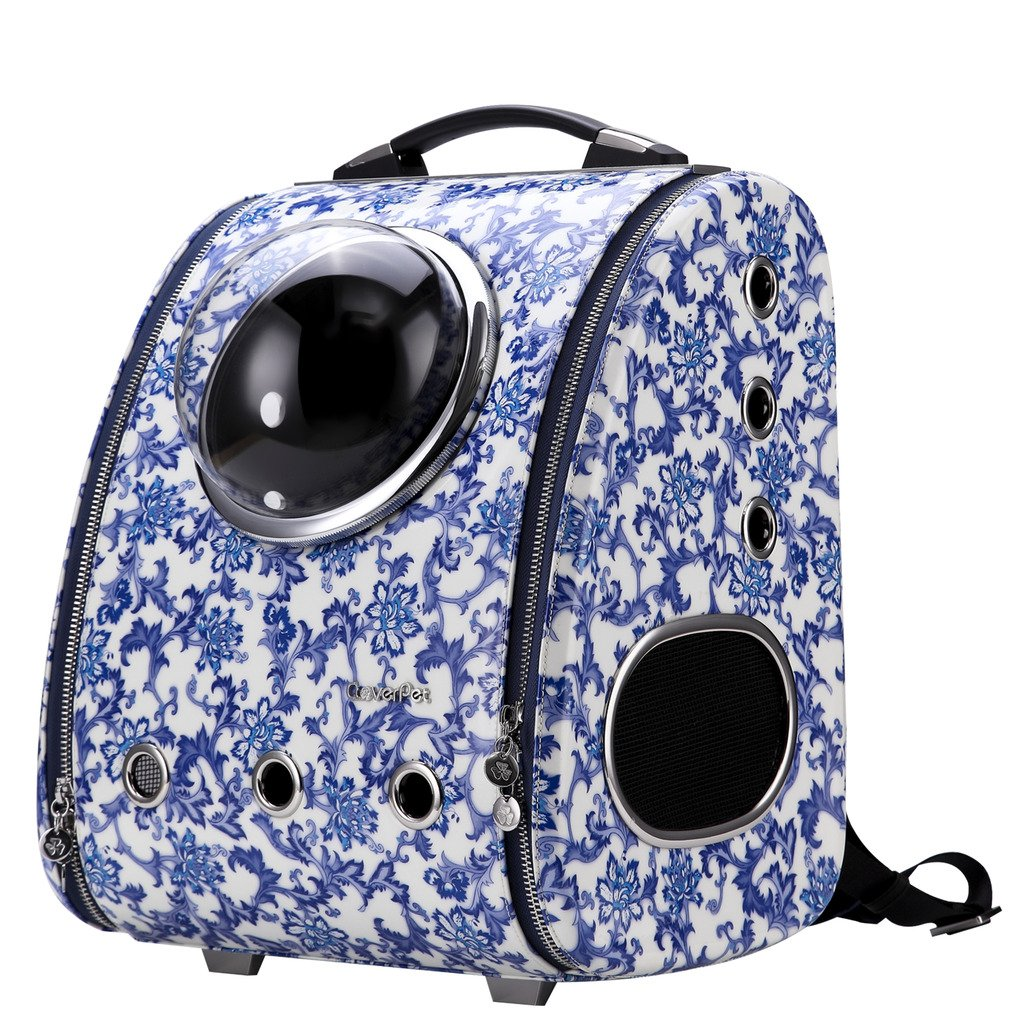 CloverPet Luxury Bubble Sporty Pet Carrier Travel Backpack for Cats Dogs Puppy (Blue&White)