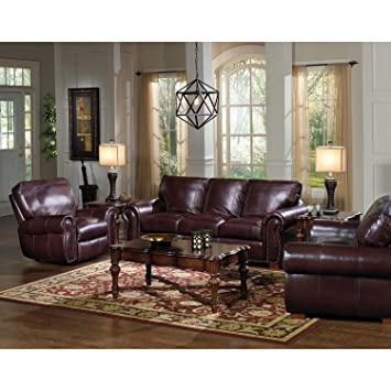 Amazon.com: Kingston Leather Living Room Set - 3 pc.: Kitchen & Dining