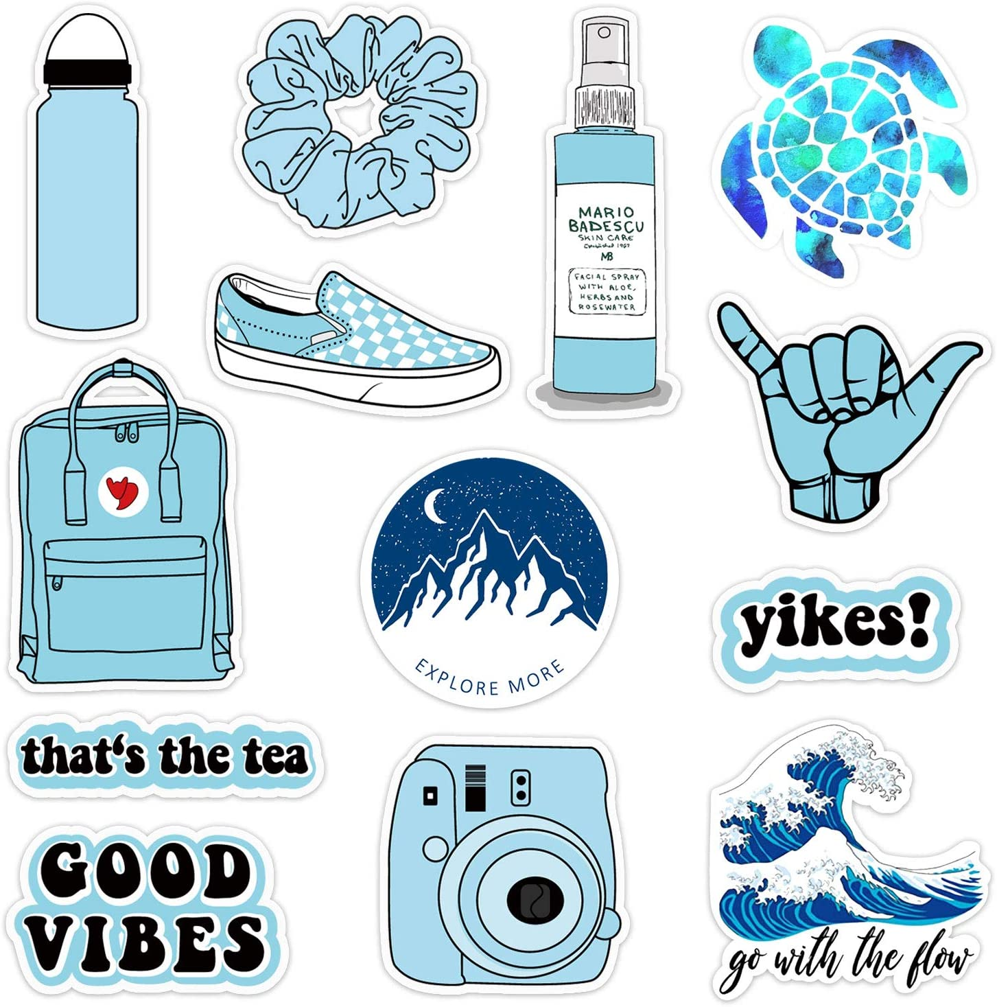 12-35Pack Vinyl Vsco Stickers for Hydro Flask Aesthetic Waterproof VSCO Girl Essential Stuff for Water Bottles Laptop Stickers for Women
