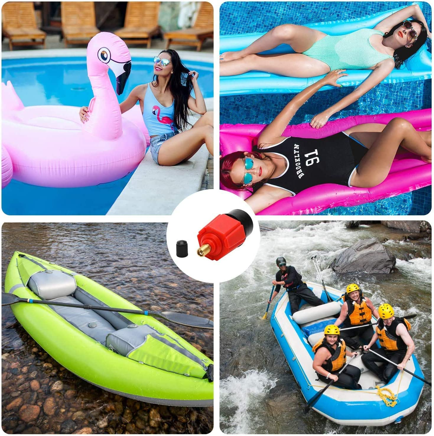 Inflatable Bed Inflatable SUP Pump Adaptor Compressor Air Valve Converter Stand Up Paddle Board Multifunction SUP Valve Adapter with 4 Air Valve Nozzlesz Air Valve Adaptor for Inflatable Boat Red