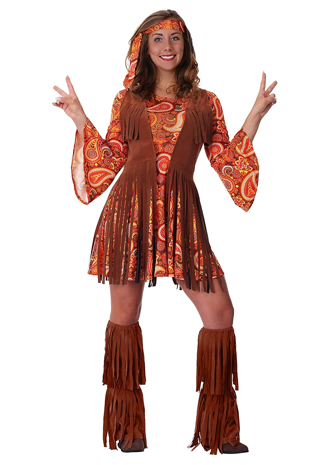 Hippie Dress | Long, Boho, Vintage, 70s Womens Fringe Hippie Costume $44.99 AT vintagedancer.com