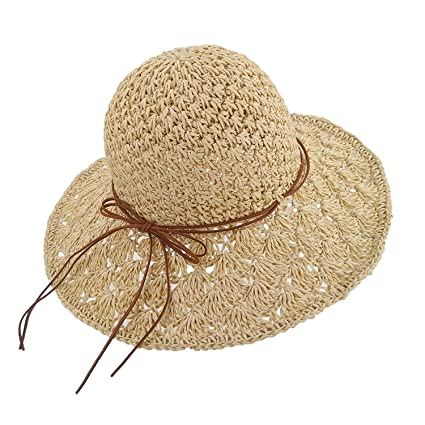 Baby Girls Bowknot Foldable Summer Sun Hats Floppy Beach Hat Straw Hat for  Travel Beige daaaaf942d0