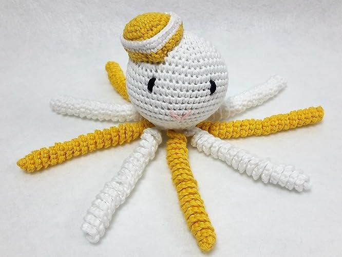 Pulpo amigurumi para recién nacido blanco-amarillo realizado con ...
