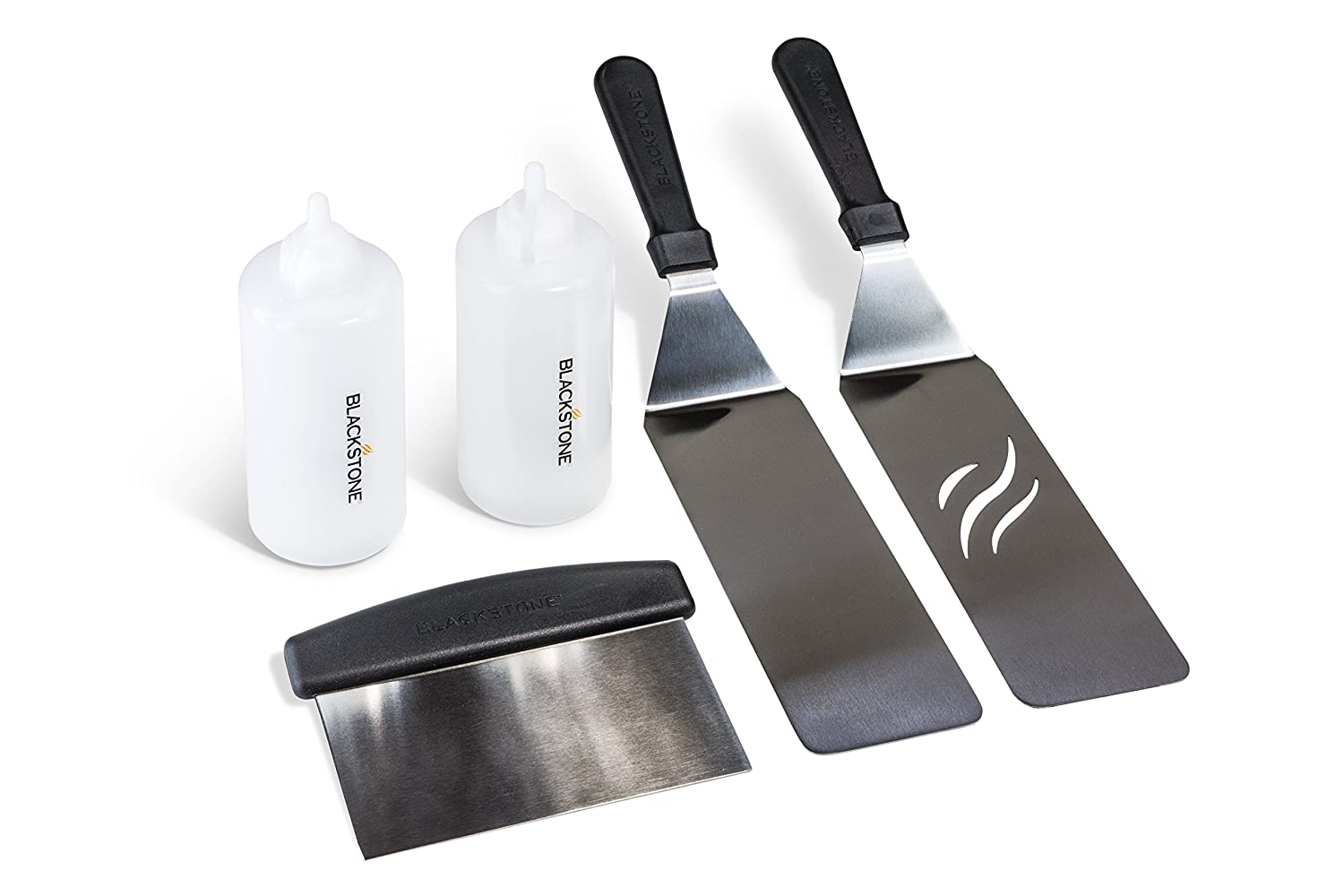 Blackstone Signature Griddle Accessories, Restaurant Grade, 2 Spatulas, 1 Chopper Scraper, 2 Bottles, FREE Recipe Book, 5 Piece Tool Kit for BBQ ...