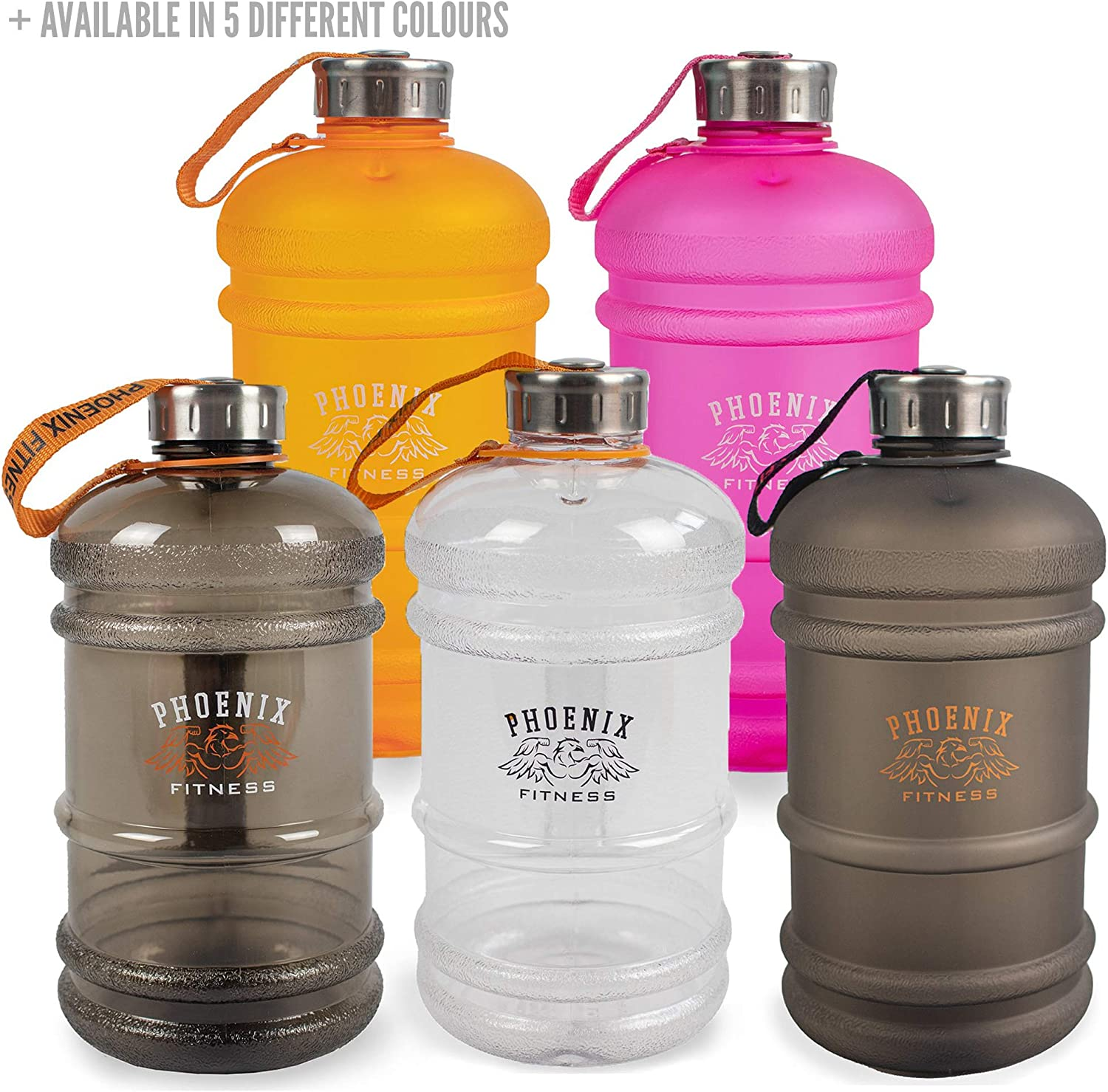 Unisex Hydration Bottle 2 Litre Bottle Screw Top Cap and Extremely Durable BPA-Free DEHP-Free Plastic Stainless Steel Cap Secured with a Strap Phoenix Fitness 2L Drinks Water Bottle