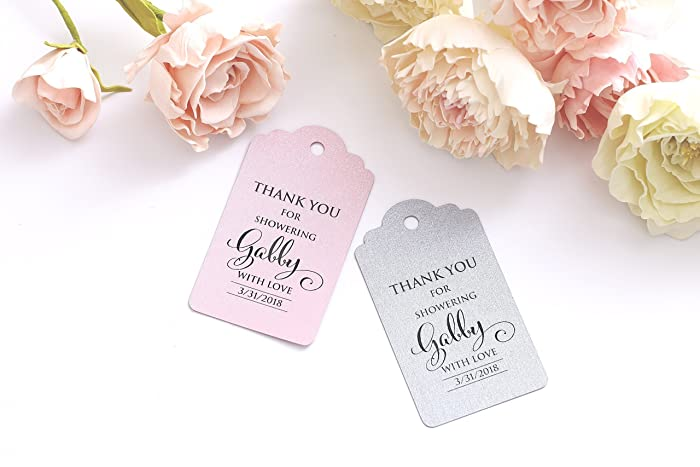 personalized favor tags bridal shower tags thank you for showering tags thank you bridal party decoration