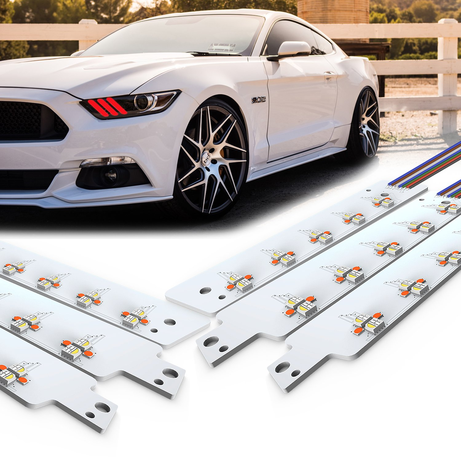 Proauto Multicolor Drl Led Boards For All 2015 2017 Ford Rtx Wiring Harness Mustang Light Kit With Rgb Function Place On Left And Right Vehicle Fantastic